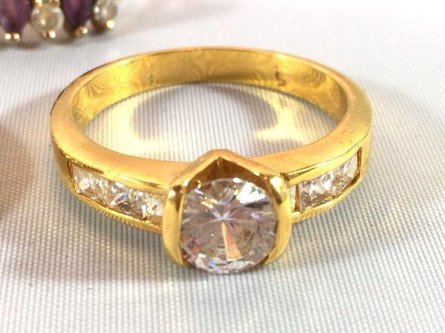 3 Ladies Rings Marquise Amethyst & Sterling - 2