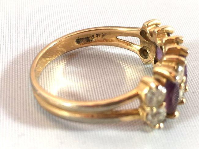 3 Ladies Rings Marquise Amethyst & Sterling - 5