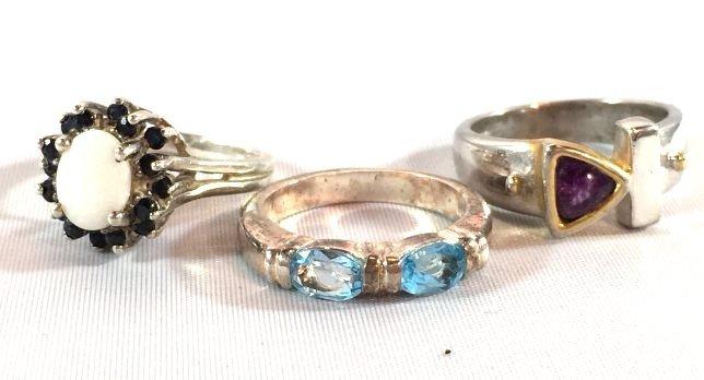 3 Sterling Silver Rings Opal, Topaz, Amethyst