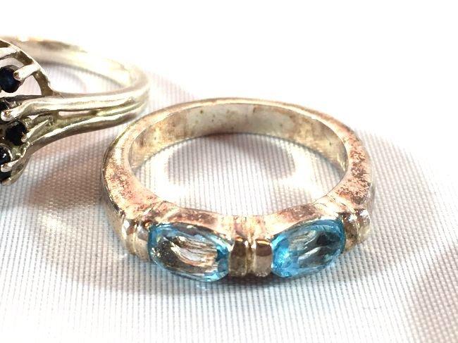 3 Sterling Silver Rings Opal, Topaz, Amethyst - 2