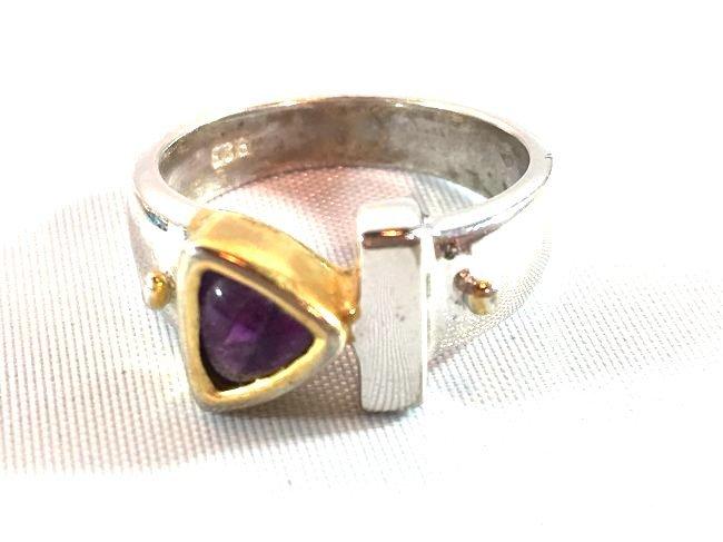 3 Sterling Silver Rings Opal, Topaz, Amethyst - 3