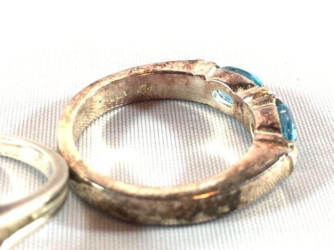 3 Sterling Silver Rings Opal, Topaz, Amethyst - 6