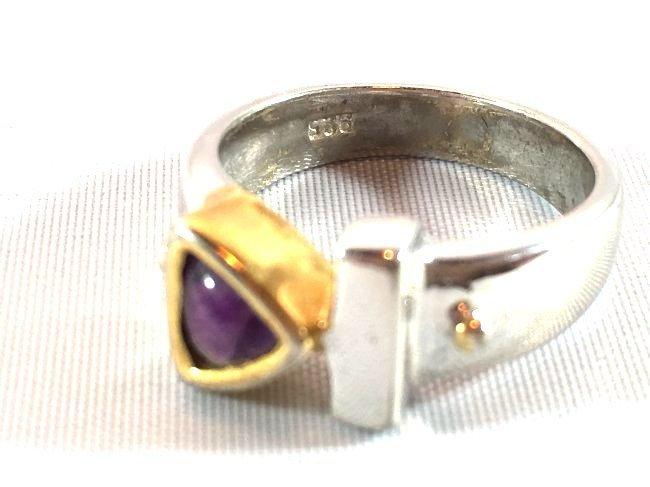 3 Sterling Silver Rings Opal, Topaz, Amethyst - 7