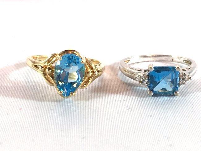 2 Ladies Deep Topaz- Aquamarine Rings size 7