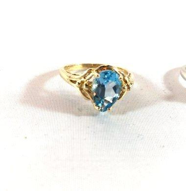 2 Ladies Deep Topaz- Aquamarine Rings size 7 - 2