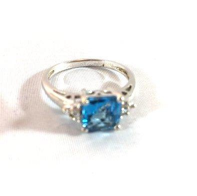 2 Ladies Deep Topaz- Aquamarine Rings size 7 - 3
