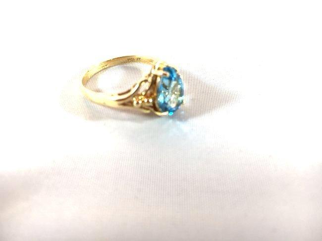 2 Ladies Deep Topaz- Aquamarine Rings size 7 - 4