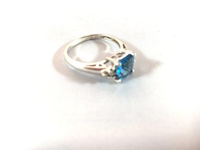 2 Ladies Deep Topaz- Aquamarine Rings size 7 - 5