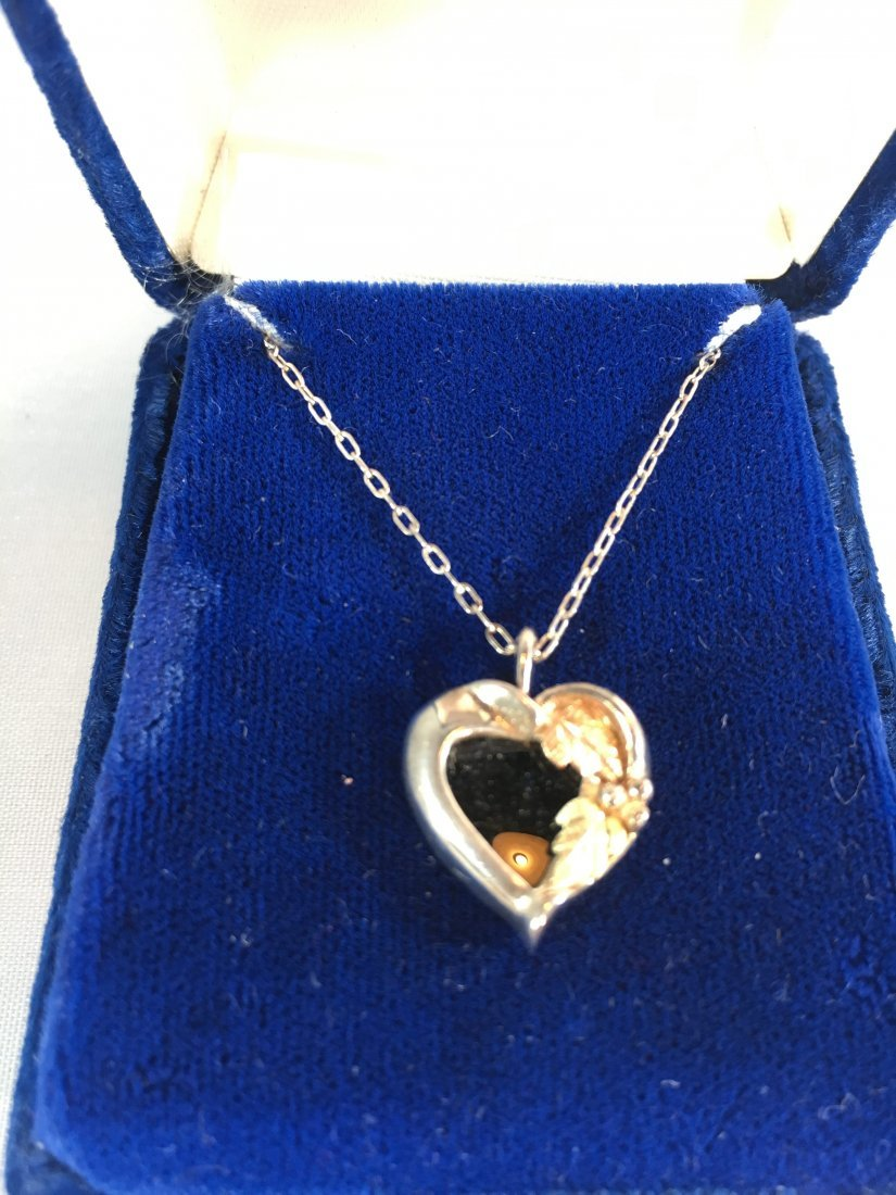 Sweet Sterling Silver Jet Heart Necklace w/ gold leaves