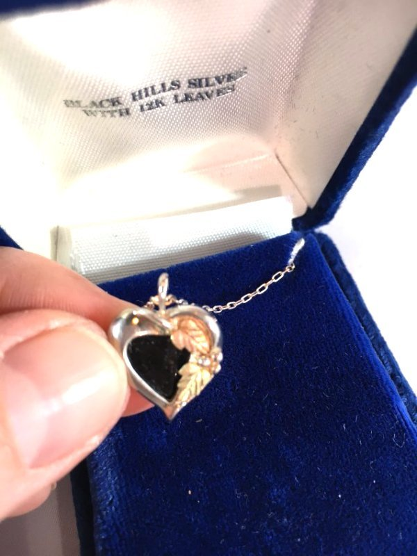 Sweet Sterling Silver Jet Heart Necklace w/ gold leaves - 2