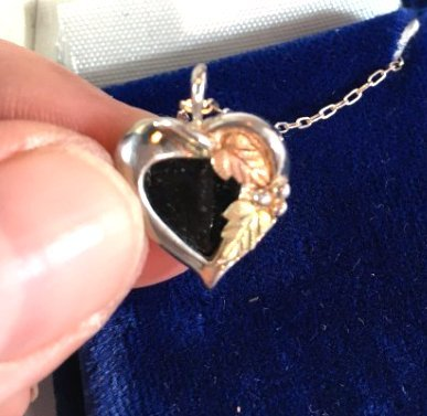 Sweet Sterling Silver Jet Heart Necklace w/ gold leaves - 3