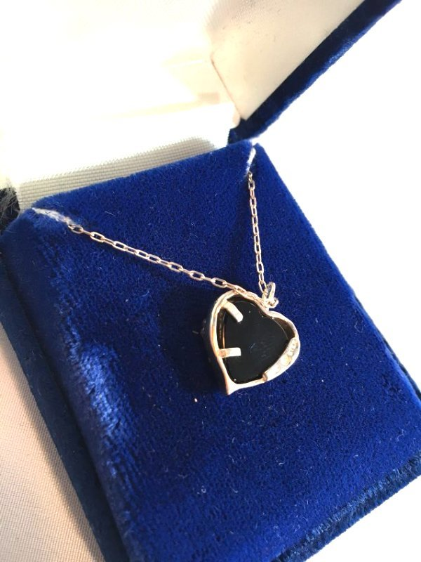 Sweet Sterling Silver Jet Heart Necklace w/ gold leaves - 4