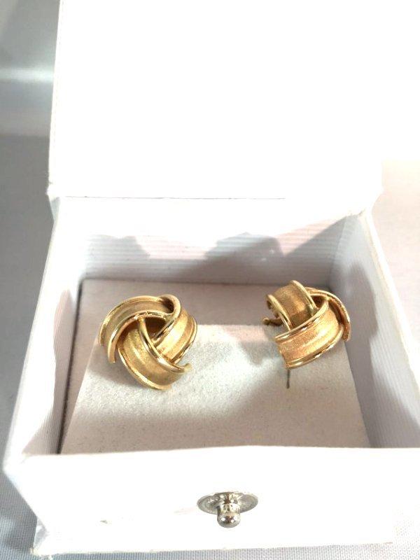 14k Brushed Gold Knot Ladies Pierced Earrings - 2