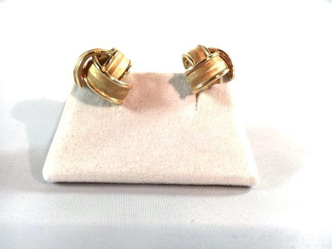 14k Brushed Gold Knot Ladies Pierced Earrings - 3