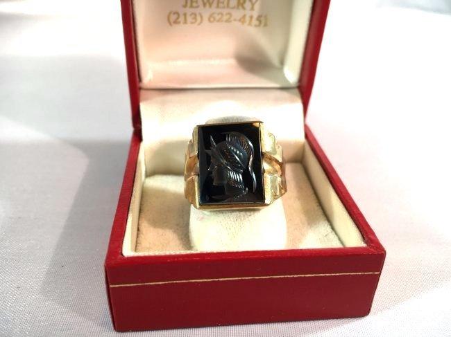Men's Trojan Intaglio Ring Set in 10k Gold sz 11 - 2