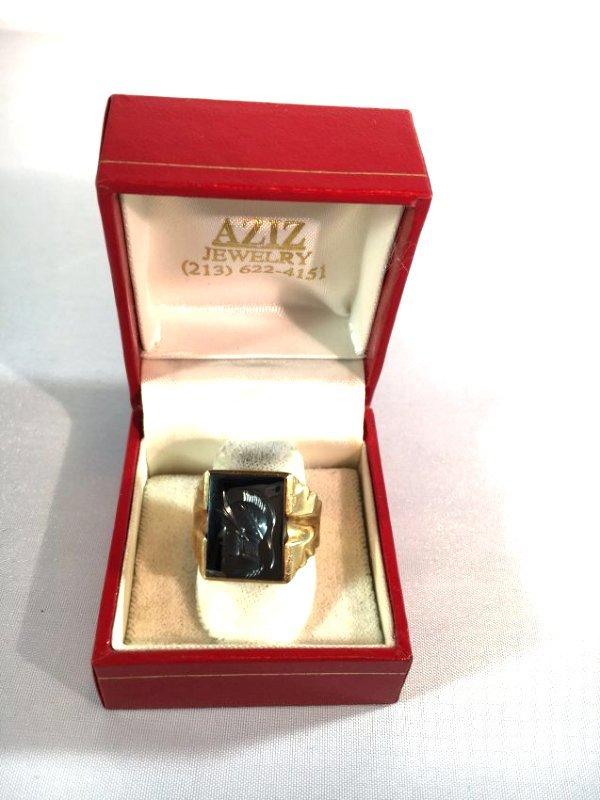 Men's Trojan Intaglio Ring Set in 10k Gold sz 11 - 3