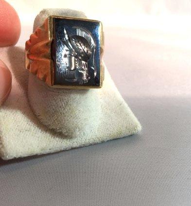 Men's Trojan Intaglio Ring Set in 10k Gold sz 11 - 4