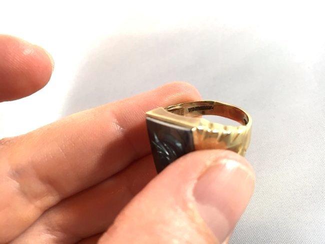 Men's Trojan Intaglio Ring Set in 10k Gold sz 11 - 6