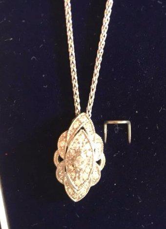 Stunning 18K white gold & Diamond Necklace Deco - 3