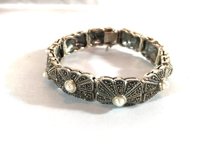 Sterling Silver pave' bracelet with seed pearls - 2