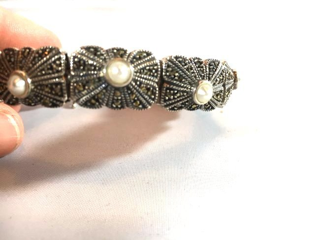 Sterling Silver pave' bracelet with seed pearls - 3
