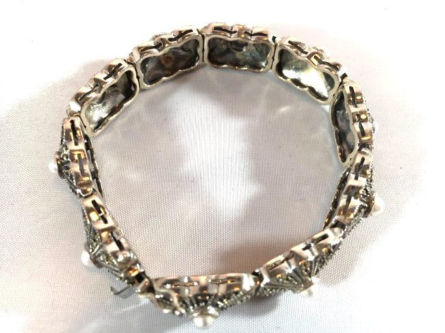 Sterling Silver pave' bracelet with seed pearls - 4