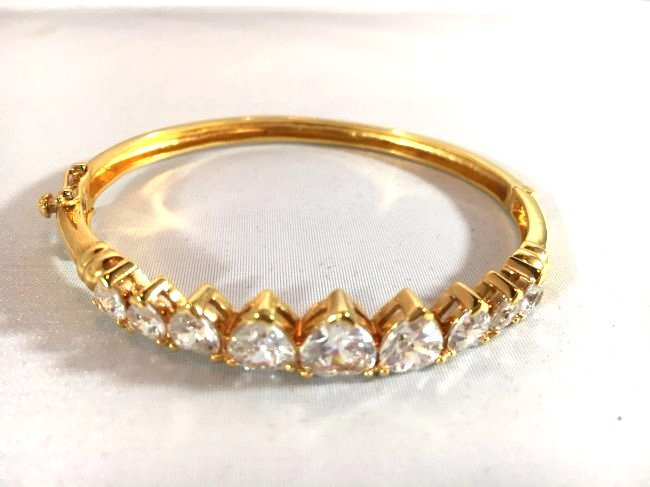 Gold over Sterling Bracelet Heart Shaped Rhinestones