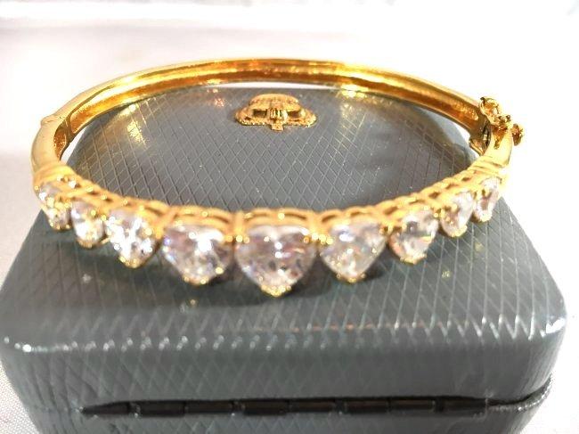 Gold over Sterling Bracelet Heart Shaped Rhinestones - 3