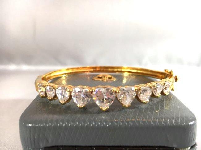 Gold over Sterling Bracelet Heart Shaped Rhinestones - 4