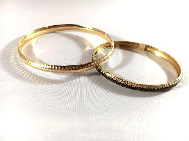 2 14K Gold Ladies Bangle Bracelets