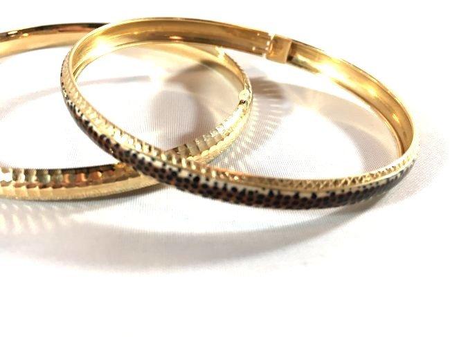 2 14K Gold Ladies Bangle Bracelets - 2