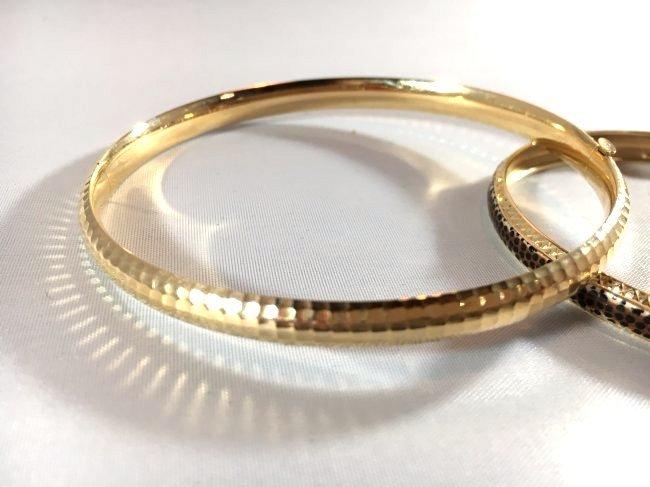 2 14K Gold Ladies Bangle Bracelets - 3