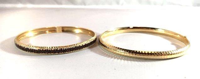 2 14K Gold Ladies Bangle Bracelets - 4