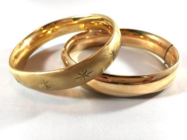 2 Brushed & Engraved Gold Bangle Bracelets