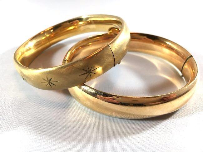 2 Brushed & Engraved Gold Bangle Bracelets - 2