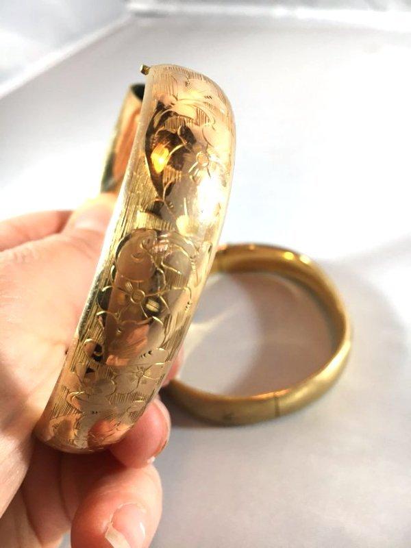 2 Brushed & Engraved Gold Bangle Bracelets - 3