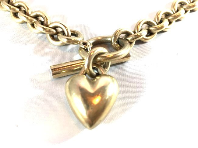 Heavy Sterling Silver Chain Necklace w/ Heart Pendant - 3