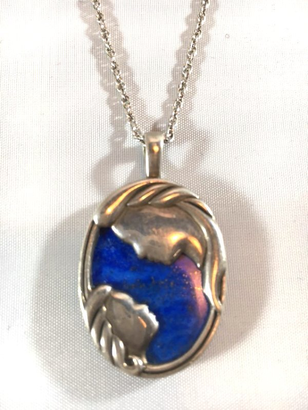 Lovely Lapis & Sterling Silver Mother & Child Necklace