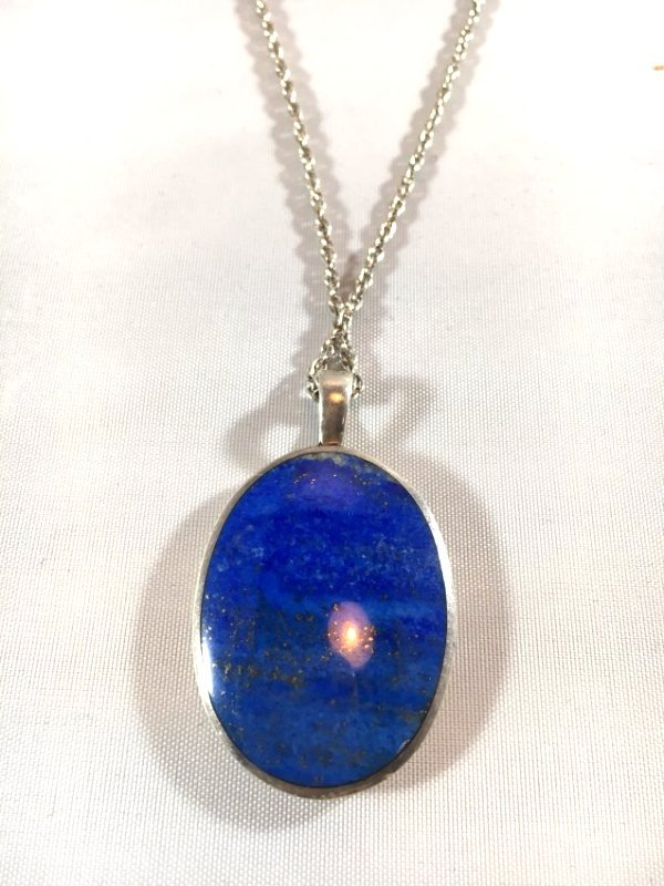 Lovely Lapis & Sterling Silver Mother & Child Necklace - 2