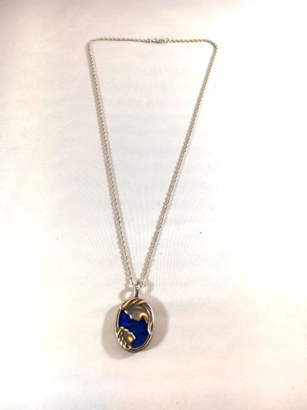 Lovely Lapis & Sterling Silver Mother & Child Necklace - 3