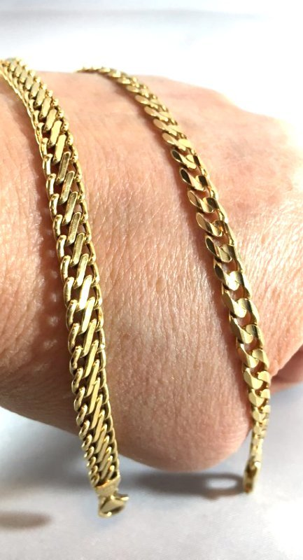 Pair of 14K Italian Gold Curb & S Link Chain Bracelets