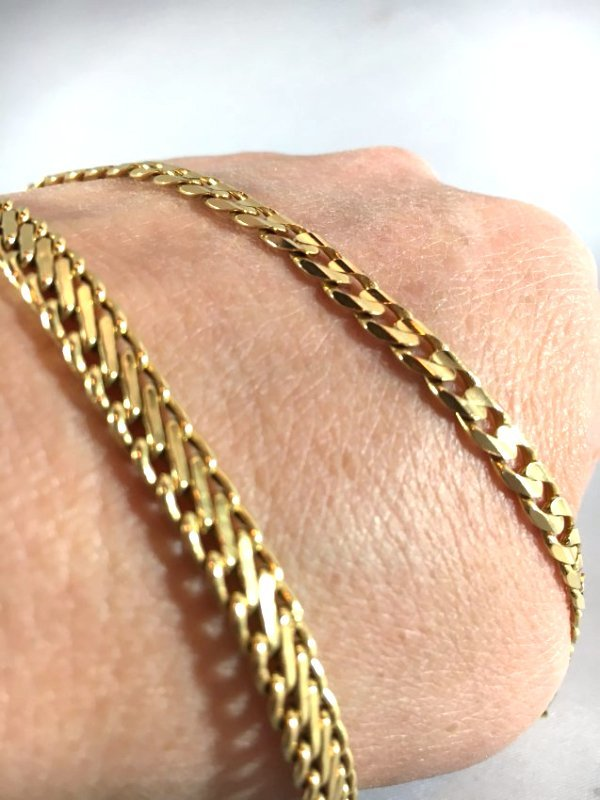 Pair of 14K Italian Gold Curb & S Link Chain Bracelets - 2