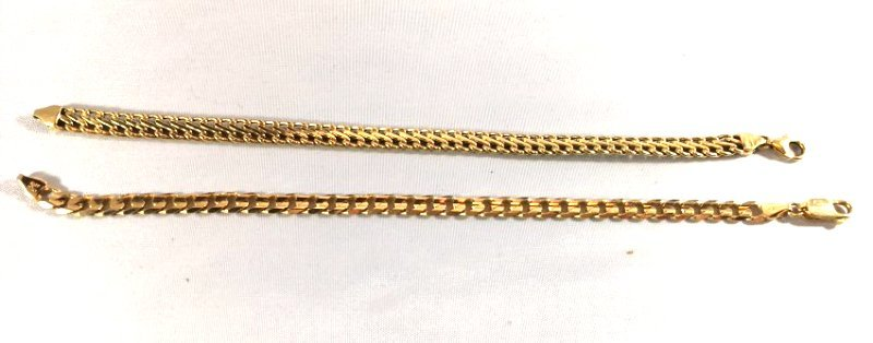 Pair of 14K Italian Gold Curb & S Link Chain Bracelets - 3