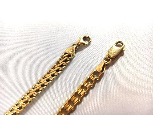Pair of 14K Italian Gold Curb & S Link Chain Bracelets - 4