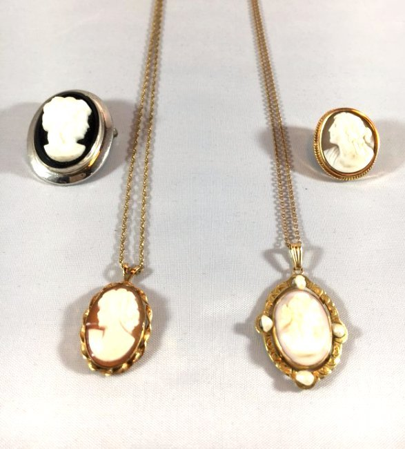 4 Hand-CarvedCameo Necklaces & Brooches Gold & Sterling