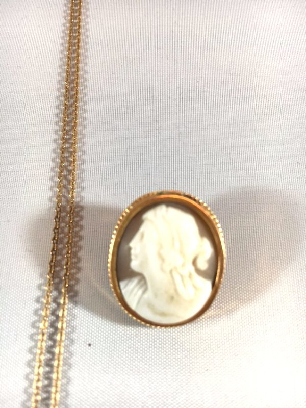4 Hand-CarvedCameo Necklaces & Brooches Gold & Sterling - 3