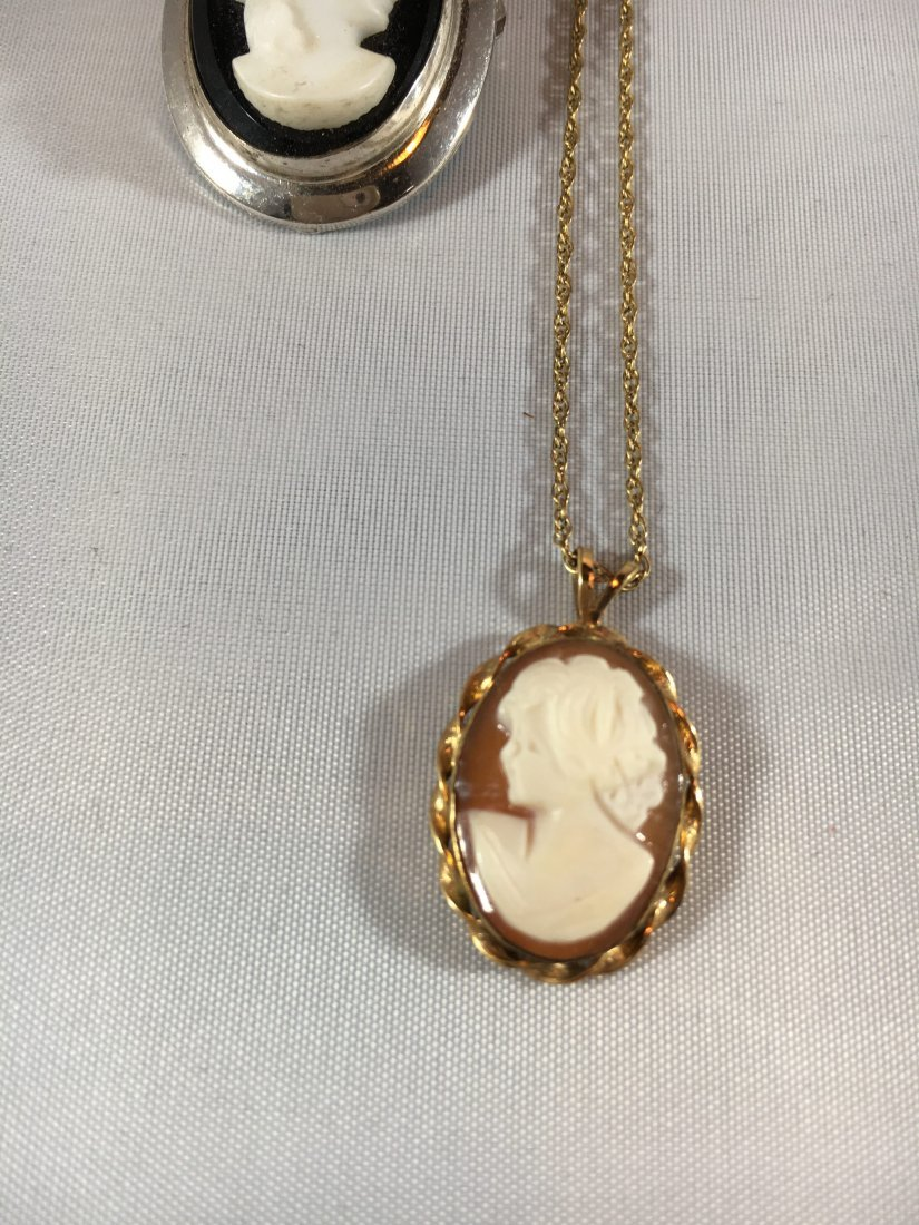 4 Hand-CarvedCameo Necklaces & Brooches Gold & Sterling - 4