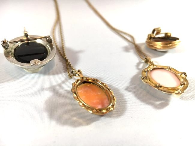 4 Hand-CarvedCameo Necklaces & Brooches Gold & Sterling - 6
