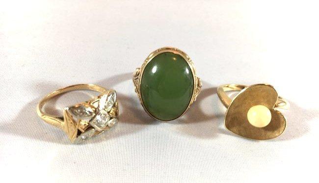 3Ladies Gold Rings: Jade, Pearl, Diamond (6.5-7)
