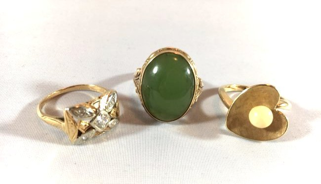 3Ladies Gold Rings: Jade, Pearl, Diamond (6.5-7)